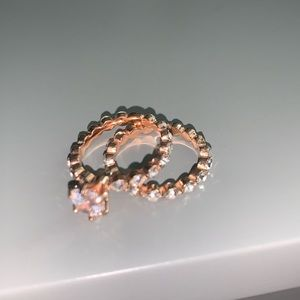 2 piece rose gold ring set